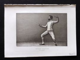 Badminton Library 1893 Antique Sword Fencing Print. Second Position on Guard